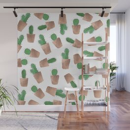 Hand painted watercolor green rose gold modern cactus  Wall Mural