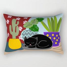 Flower pots and a black cat Rectangular Pillow
