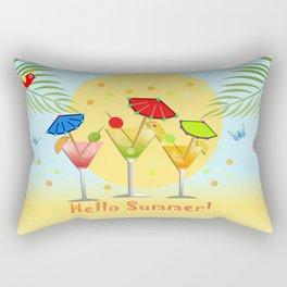 Hello Summer, vector illustration with text Rectangular Pillow