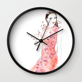Fashion illustration embroidered dress in coral Wall Clock