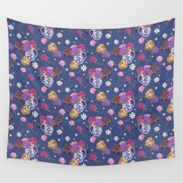 Guinea Pig Pattern on Deep Blue Wall Tapestry