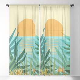 Tropical Ocean View / Landscape Illustration Sheer Curtain