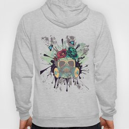 Green Gas Mask with Roses Hoody