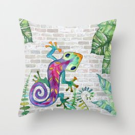 Tropical Gecko Throw Pillow