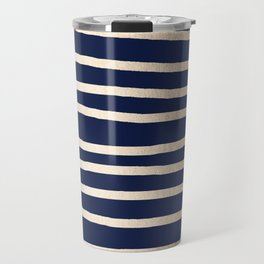 Drawn Stripes White Gold Sands on Nautical Navy Blue Travel Mug