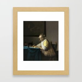 A Lady Writing Oil Painting by Johannes Vermeer Framed Art Print