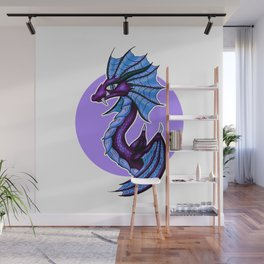 Purple Water Dragon White Background Wall Mural