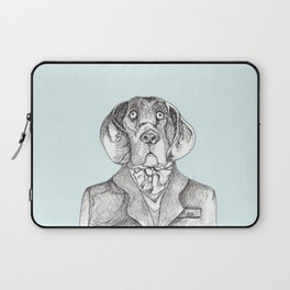 Elegant dog painting, hound dog in tweed coat pen and ink, ascot scarf, hipster dog art Laptop Sleeve
