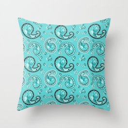 Turquoise Paisley Throw Pillow