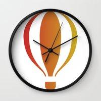 hot air balloon Wall Clocks featuring Hot, hot air balloon by SPLEJS