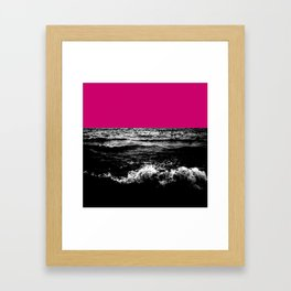 Black Wave w/Hot Pink Horizon Framed Art Print