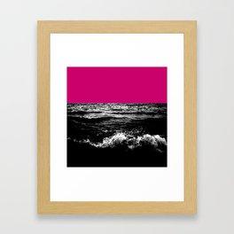 Black Wave w/Hot Pink Horizon Framed Art Print