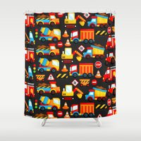 truck Shower Curtains featuring Construction Truck by Inkley