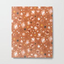 Summer Cheetah Print Pattern - Rust Metal Print