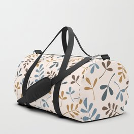 Assorted Leaf Silhouettes Blues Brown Gold Cream Duffle Bag