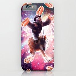 Cowboy Space Sloth On Wolf Unicorn - Hot-Dog iPhone Case