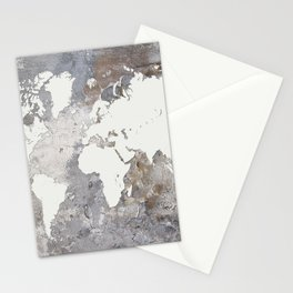 Design 220 Gray World Map Stationery Cards