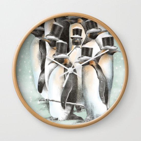 A Gathering in the Snow Wall Clock