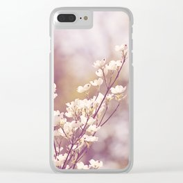 Pink White Spring Floral Photography, Dogwood Tree Blossoms, Lavender Flower Branches Clear iPhone Case