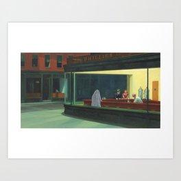 """""""Ghost Nighthawks"""" / Edward Hopper Art Print"""