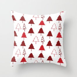 Christmas Tree Red and White Throw Pillow