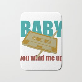 Baby You Wind Me Up Retro Style Vintage Cassette Tape Pen graphic Bath Mat