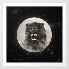 Lion in the Moon Art Print