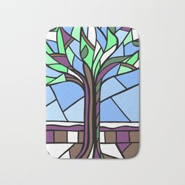 Stained Glass Tree Design Bath Mat