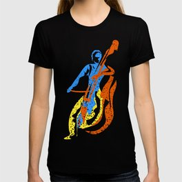 Abstract Bass Player Paint Style T-shirt