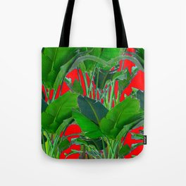 DECORATIVE RED & GREEN TROPICAL FOLIAGE ART Tote Bag