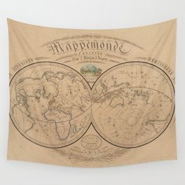 Vintage Map of The World (1839) Wall Tapestry