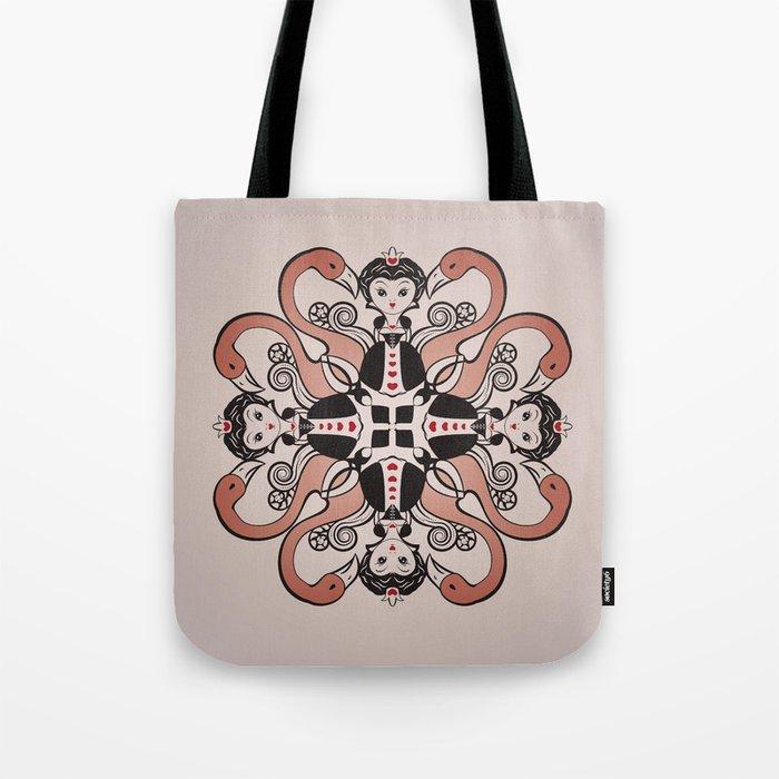 Queen of Hearts mandala Tote Bag