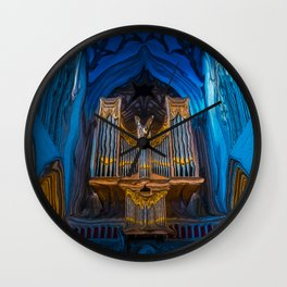 Blue Cathedral Gold Pipe Organ Wall Clock