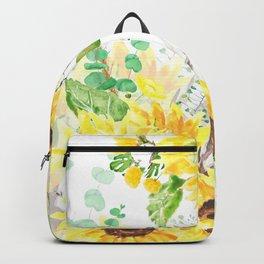 yellow sunflower arrangement watercolor 2021  Backpack