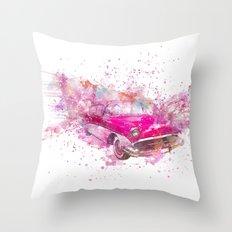 Pink Retro Car mixed media watercolor art Throw Pillow