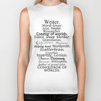 writer Biker Tanks featuring Writer by Thoughts from behind the Lens