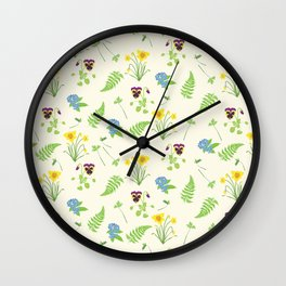 Spring Flowers and Ferns Illustrated Pattern Print Wall Clock