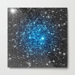 GaLaXY Sparkle Stars :  Blue Pop of Color Metal Print