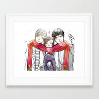 jem Framed Art Prints featuring Jem, Tessa and Will by The Radioactive Peach