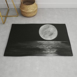 Full Moon, Moonlight Water, Moon at Night Painting by Jodi Tomer. Black and White Rug