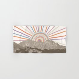 Summerlin Mountain // Abstract Vintage Mountains Summer Sun Vibe Drawing Happy Wall Hanging Hand & Bath Towel