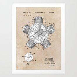 patent art Aldridge 1971 Radial engine Art Print