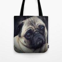 pug Tote Bags featuring Pug by Malgorzata Zabawa
