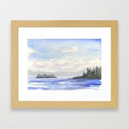Seattle Ferry Watercolor Framed Art Print