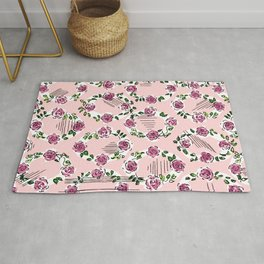 romantic rose pattern oval – countrystyle flowers Rug