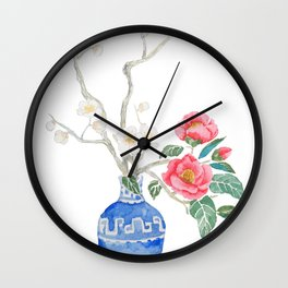 red camellia  flower white plum flower in blue vase Wall Clock