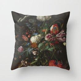 Jan Davidsz de Heem - Vase of Flowers (c.1660) Throw Pillow