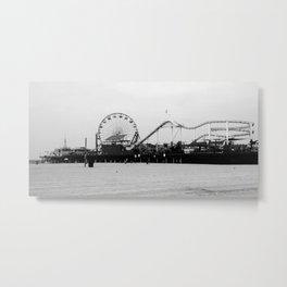Santa Monica Pier in Black and White Metal Print