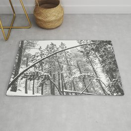 Forest Snowfall // Winter Tree Black and White Landscape Photography Backwoods Woodlands Woods Rug