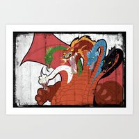 dungeons and dragons Art Prints featuring DUNGEONS & DRAGONS - TIAMAT by Zorio